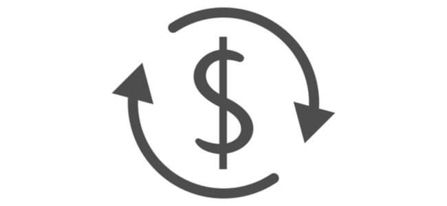 Dollar turnover icon